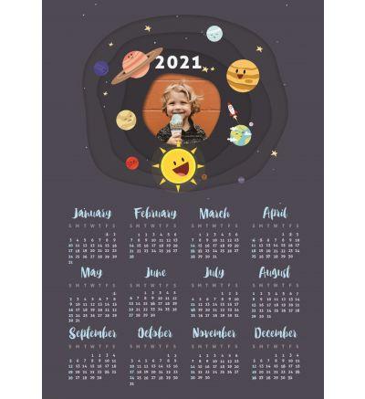 1 Page Calendar - Galaxy