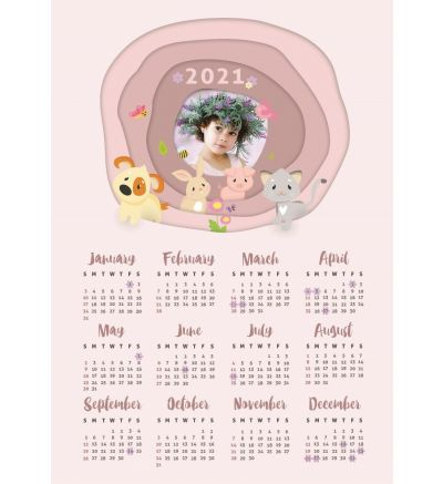 1 Page Calendar - Cute Animals