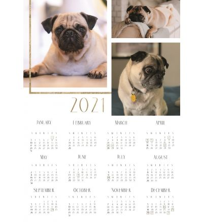 1 Page Calendar - Gold Gilded
