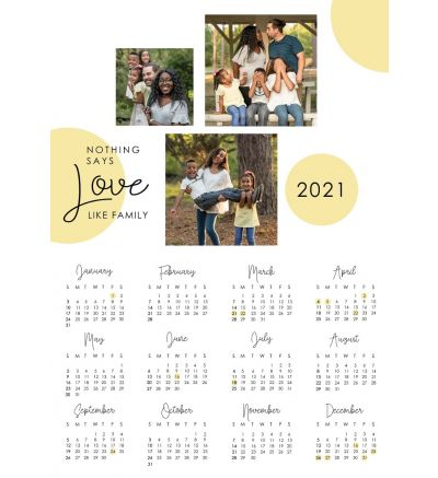 1 Page Calendar - Circles