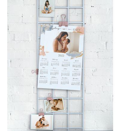 1 Page Calendar - Sparkly Watercolor