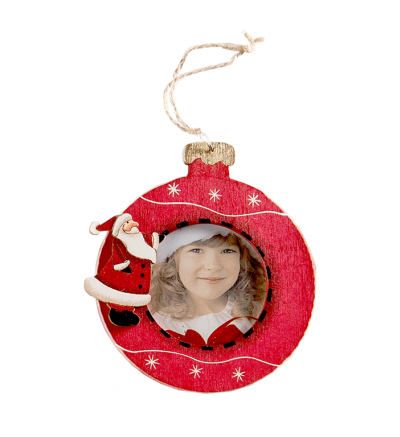 Christmas Tree Wooden Bauble Red Santa