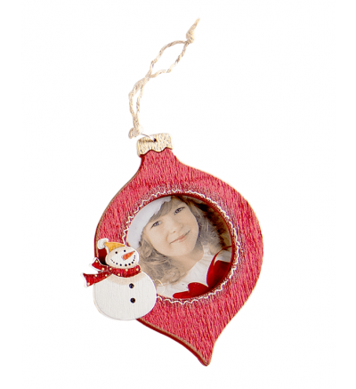 Christmas Tree Wooden Bauble Tear Drop Snowman