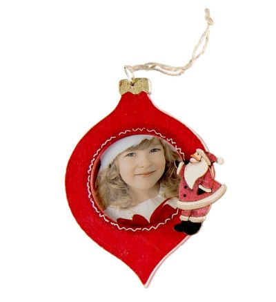 Christmas Tree Wooden Bauble Tear Drop Santa