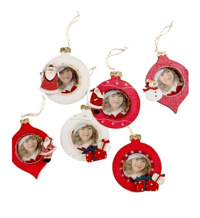 Christmas Tree Wooden Bauble Red Present