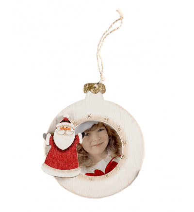 Christmas Tree Wooden Bauble White Santa
