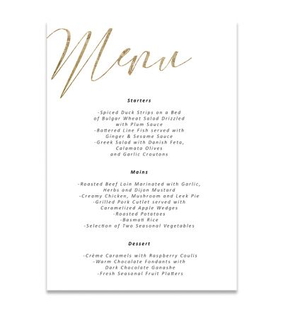 Menu Cards - A6 - Elegant - Set of 8