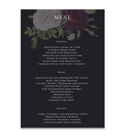 Menu Cards - A5 - Floral - Set of 4