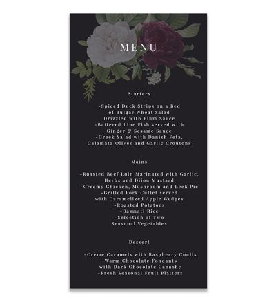 Menu Cards - DL - Floral - Set of 6
