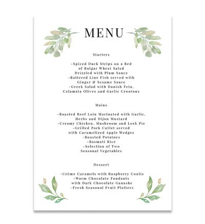 Menu Cards - A5 - Floral - Set of 4