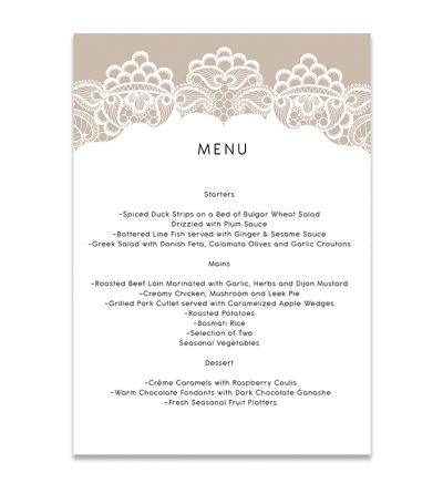 Menu Cards - A6 - Lace & Patterns - Set of 8