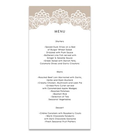 Menu Cards - DL - Lace & Patterns - Set of 6