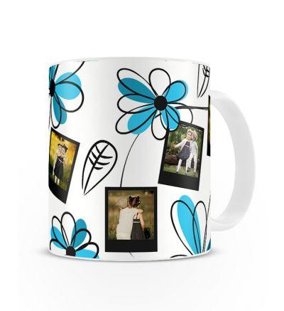 Message Mugs Blue Flowers