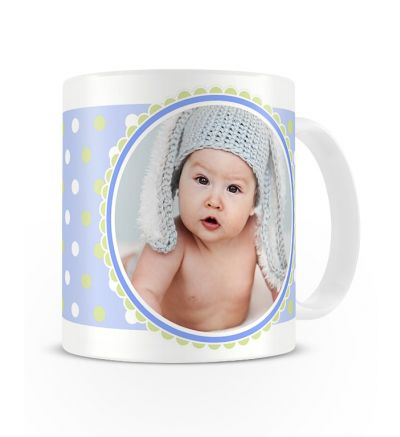 Message Mugs Blue Polka Dots