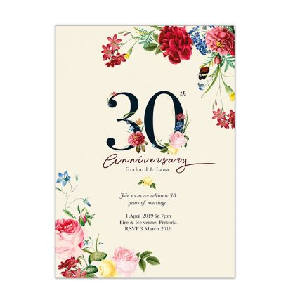Parties - Anniversary - Printed Cards - Floral