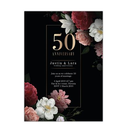 Parties - Anniversary - Printed Cards - Formal Floral