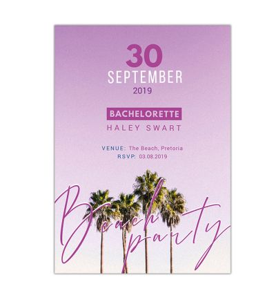 Parties - Bachelorette - Printed Cards - Beach Party