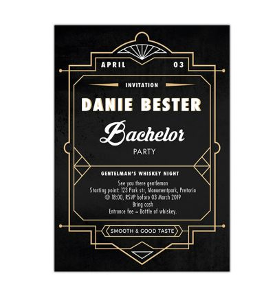 Parties - Bachelor's - Printed Cards - Whiskey