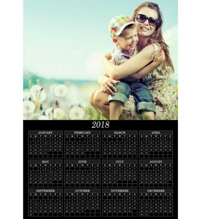 1 Page Calendar Classic Black