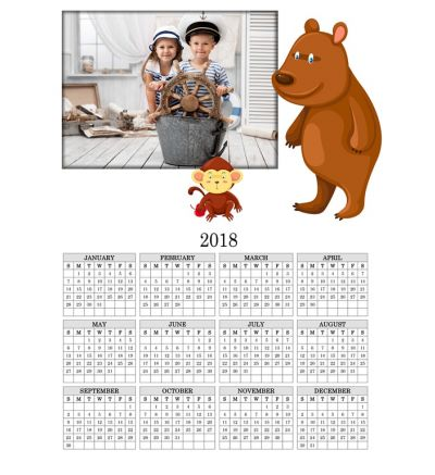 1 Page Calendar Brown Bear