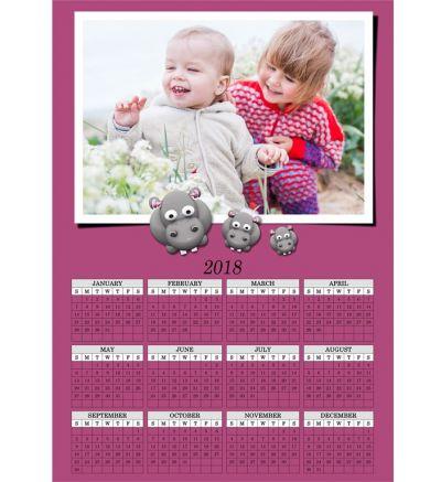 1 Page Calendar Purple Hippo