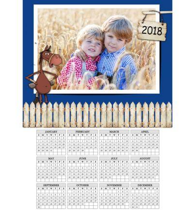 1 Page Calendar Donkey Blue