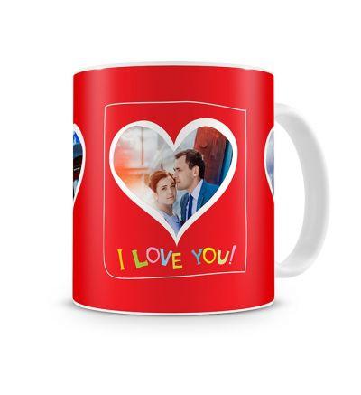 Standard Mug White Valentine Three Hearts
