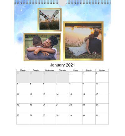 Portrait Calendar Watercolor Ombre