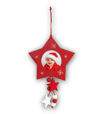 Christmas Tree Wooden Red Star