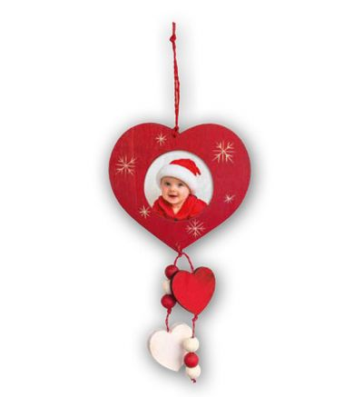 Christmas Tree Wooden Red Heart